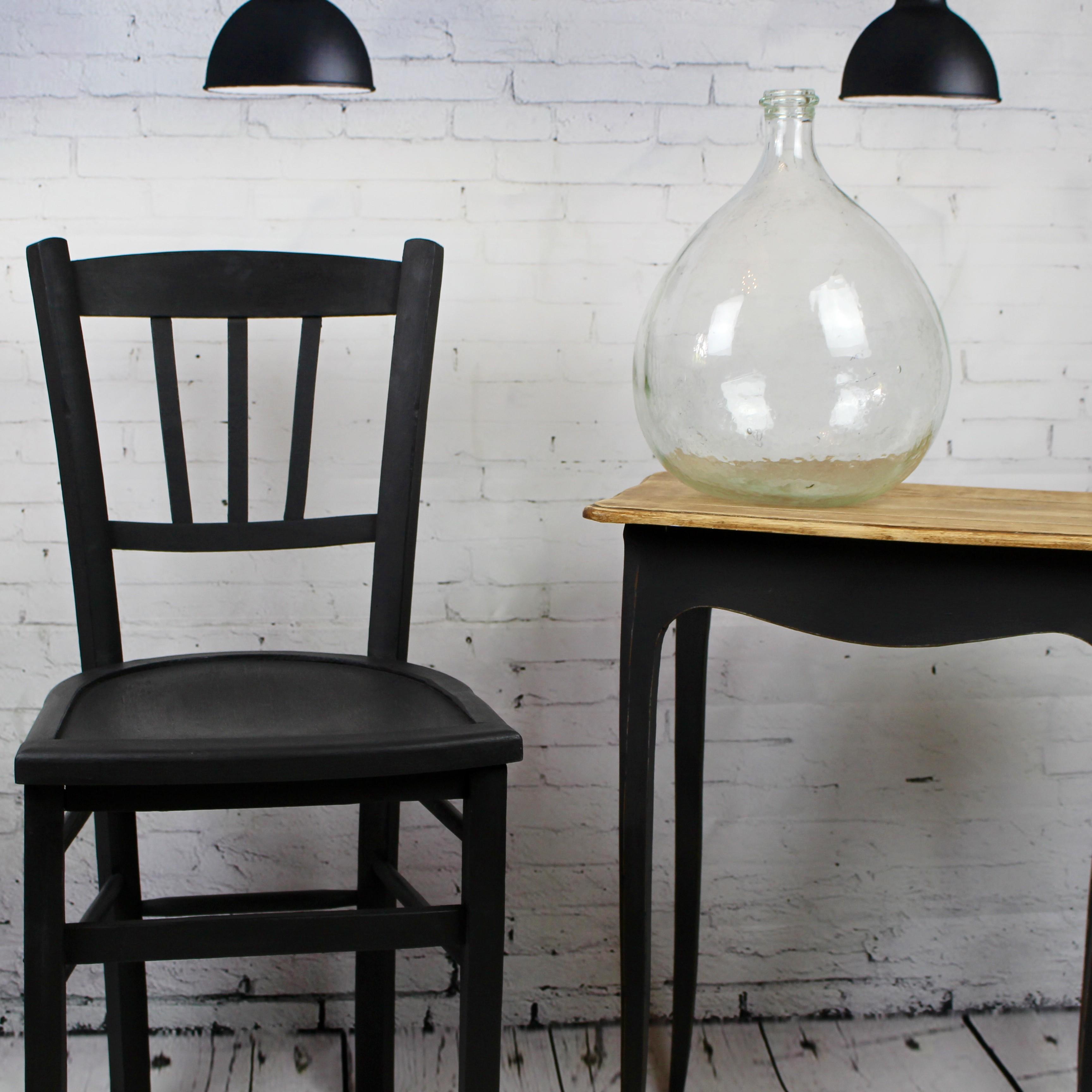 Chaise De Bistrot Cafe Ancienne En Bois Patine Noire Vintage 1950 1960