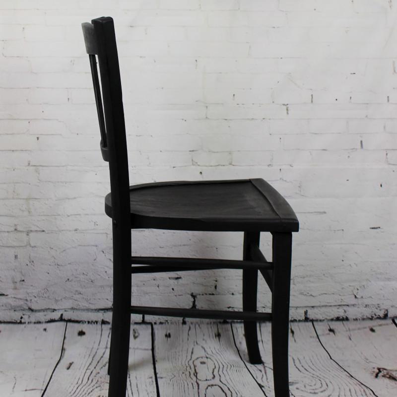 Chaise de bistrot caf ancienne en bois patine noire - Chaise bistrot en bois ...