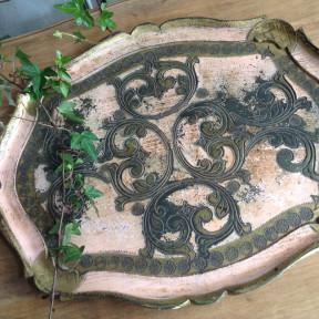 Plateau Baroque Rose et Viel Or