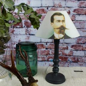 Lampe Patine Noir et son Abat-jour Rond dandy XIXe