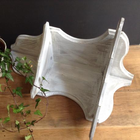 Etag re encoignure en bois patin e blanc et gris - Meuble gris patine blanc ...