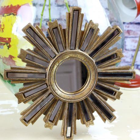 miroir glace ancien en forme soleil fleur des ann es 1960 petit format. Black Bedroom Furniture Sets. Home Design Ideas