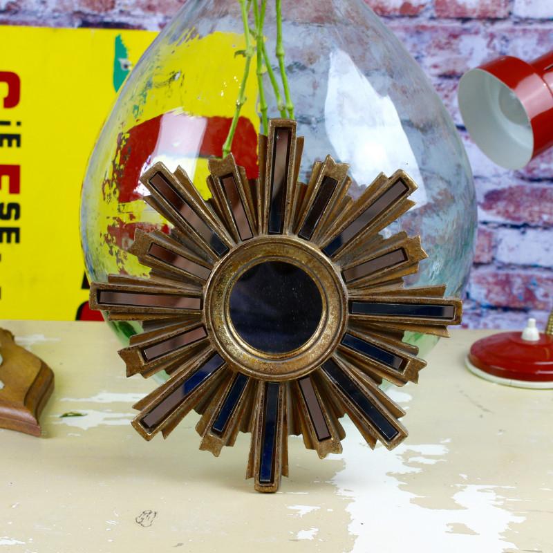 Miroir glace ancien en forme soleil fleur des ann es 1960 for Glace soleil miroir