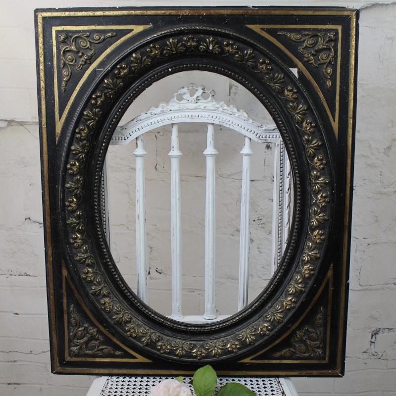 grand cadre napol on iii vue ovale en noir et or poque 19 me. Black Bedroom Furniture Sets. Home Design Ideas