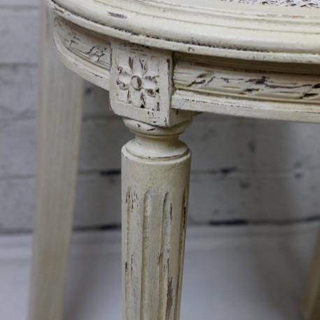 Chaise Raquette style Louis XVI patinée Blanc Antique effet Vieilli