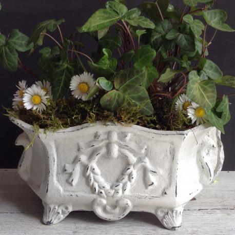 Jardinière Style Louis XVI Patinée Blanc Et Gris Ardoise