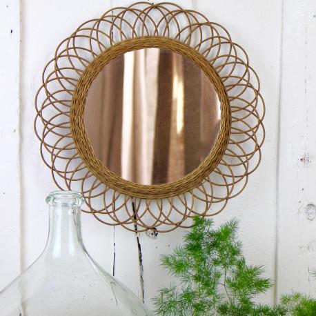 miroir ancien en rotin forme soleil fleur ann es 1950 60 grand format. Black Bedroom Furniture Sets. Home Design Ideas