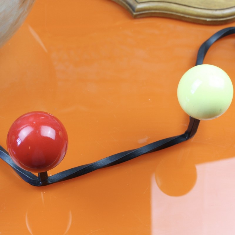 Grand porte manteau 4 pat res boules bois couleur ann es 50 60 vintage for Porte manteau eames