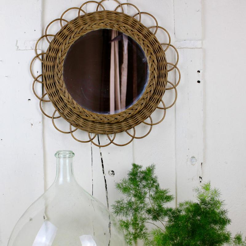 Miroir ancien en rotin osier forme soleil des ann es 1960 - Miroir en rotin vintage ...