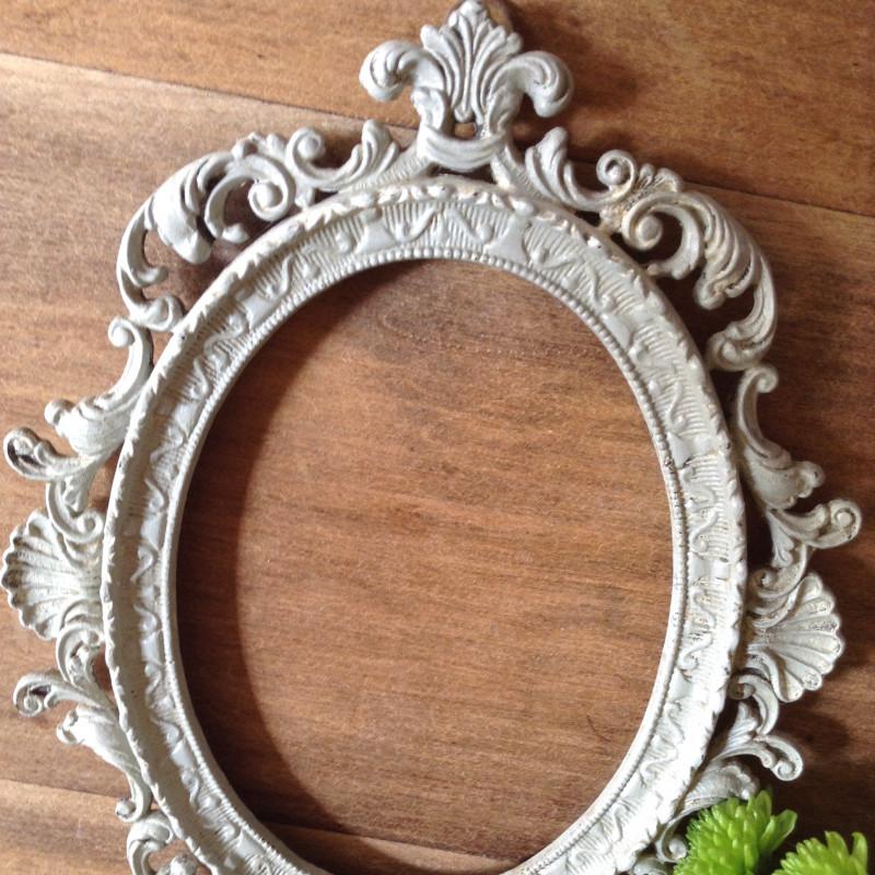 Cadre Baroque Ancien Oval En Régule Patine Grise De Style Louis Xv