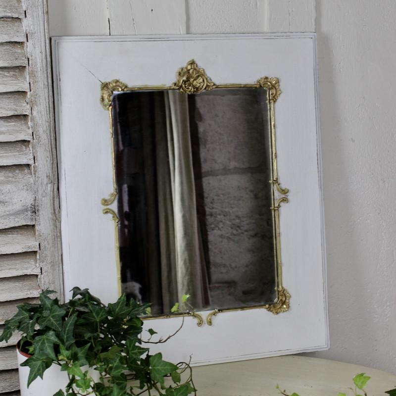 miroir ancien bois et stuc dor style louis xv rocaille patin blanc. Black Bedroom Furniture Sets. Home Design Ideas
