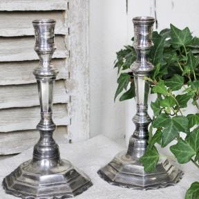 Paire de Bougeoirs Bronze Argenté 18ème