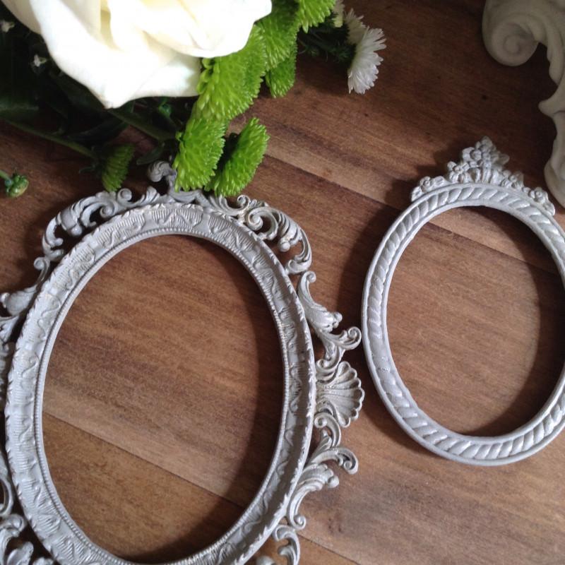 Cadre baroque ancien oval en r gule patine grise de style louis xv - Petit cadre baroque pas cher ...
