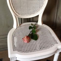 Chaise style Louis XVI patine blanche