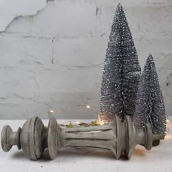 Pied de Lampe Ancien Patiné Lin Taupe