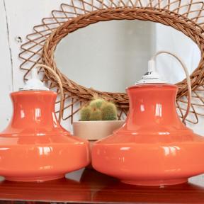 Paire de Suspensions Orange Vintage 1970