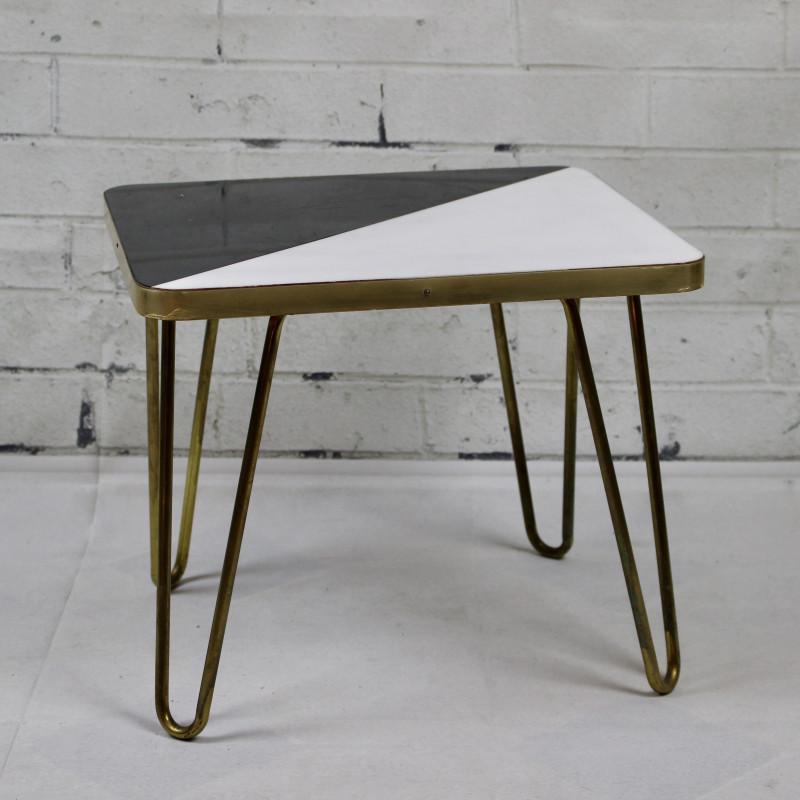 table basse ancienne vintage dessus formica plateau noir et blanc. Black Bedroom Furniture Sets. Home Design Ideas