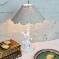 Lampe Angelot 19ème Patine Blanc Shabby