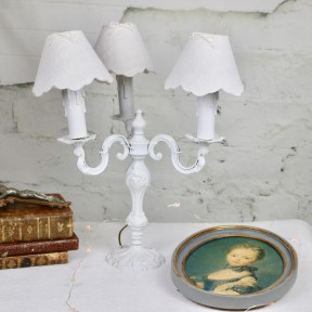Lampe Chandelier Patine Blanc Shabby