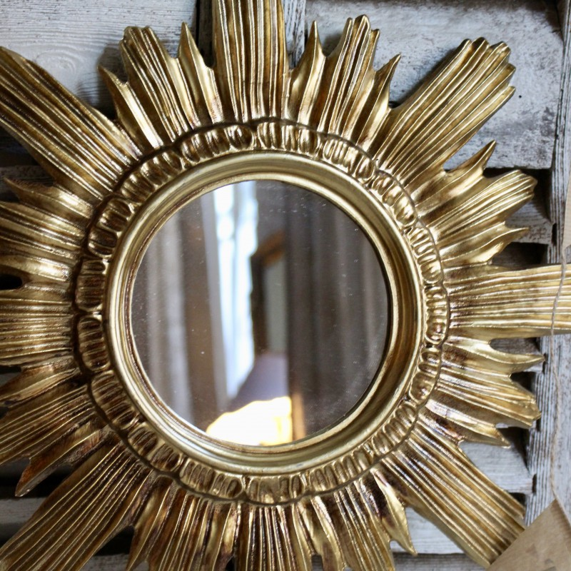 Miroir sorci re baroque forme soleil vintage en or style for Miroir de sorciere definition