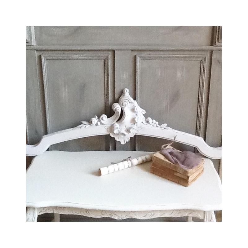 Fronton ciel de lit ancien patine blanche style louis xv - Meuble patine blanc ivoire ...