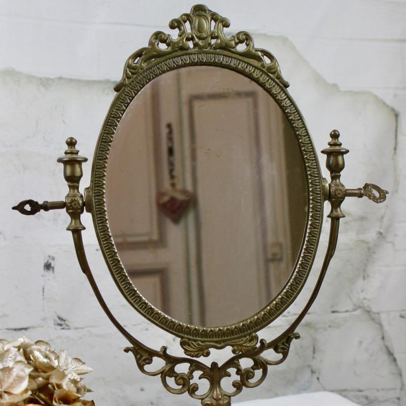 Miroir ancien psych sur pied pivotant en bronze r gule for Miroir a poser sur table