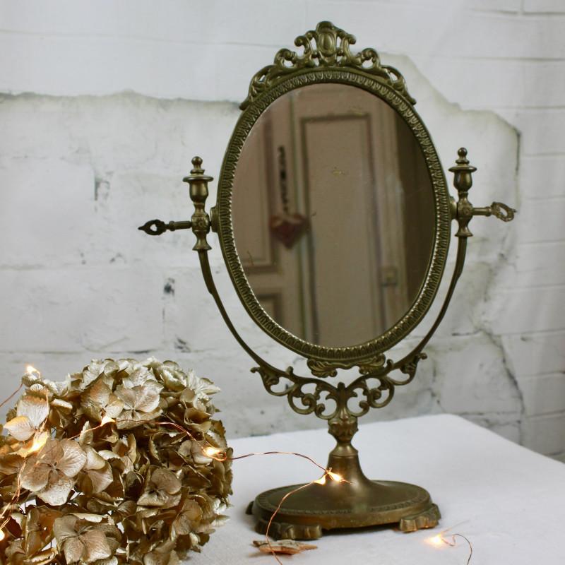 Miroir ancien psych sur pied pivotant en bronze r gule for Miroir ancien occasion