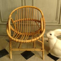 Fauteuil Coquille en Rotin Vintage pour Enfant