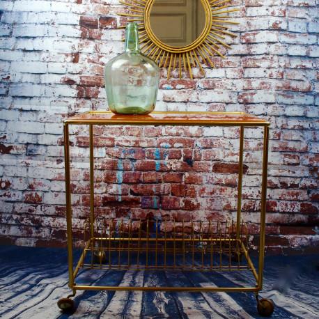table desserte ancienne vintage dessus verre plateau. Black Bedroom Furniture Sets. Home Design Ideas
