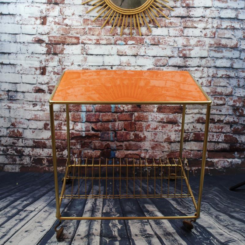 table desserte ancienne vintage dessus verre plateau orange laiton. Black Bedroom Furniture Sets. Home Design Ideas