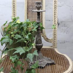Bougeoir en Bronze Patine Gris Taupe
