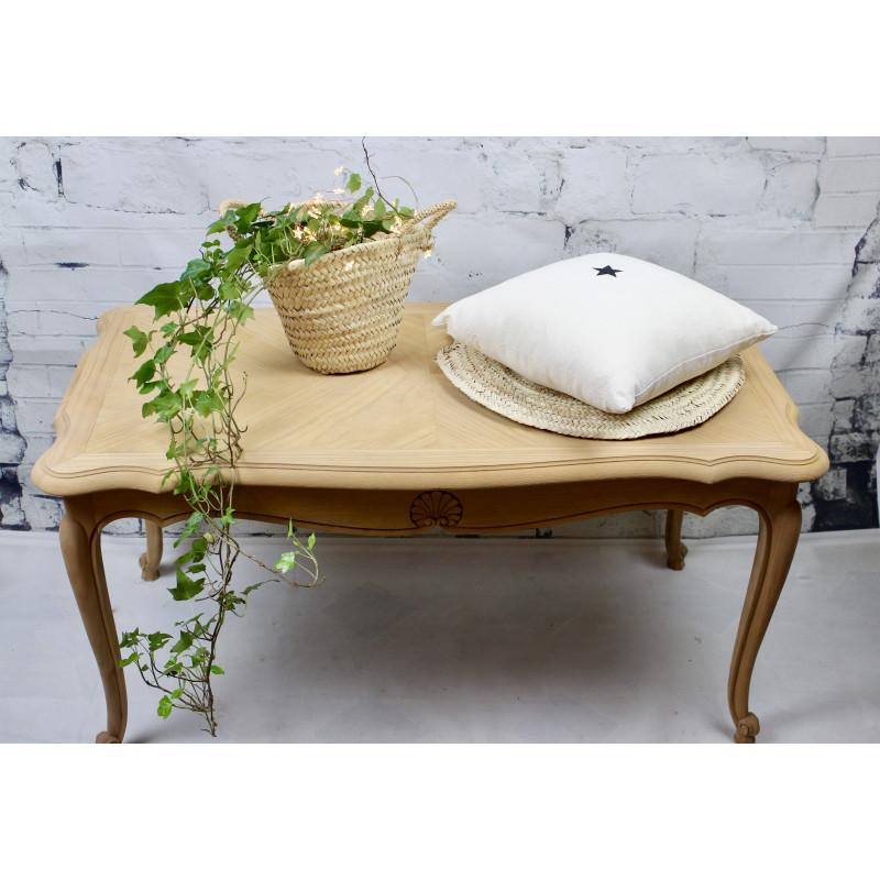 Table basse style louis xv plateau et corps en bois naturel massif - Table basse style louis xv ...