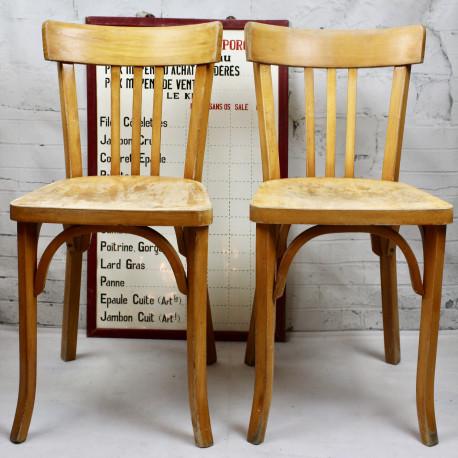 chaise bistrot emile baumann estampill bois industriel design vintage. Black Bedroom Furniture Sets. Home Design Ideas