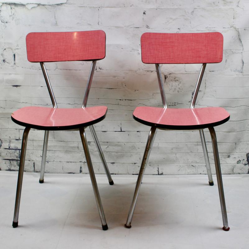 chaise de cuisine en formica rouge pied compas vintage ann es 60 50. Black Bedroom Furniture Sets. Home Design Ideas