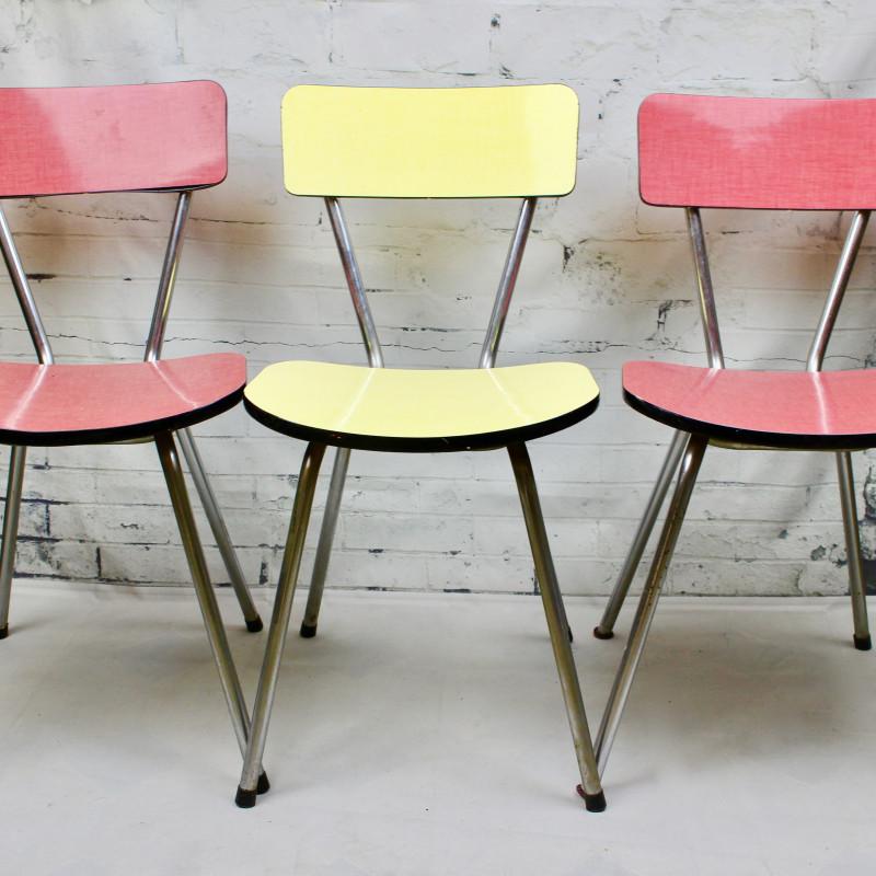 Chaise de cuisine en formica rouge pied compas vintage - Table cuisine formica annee 50 ...