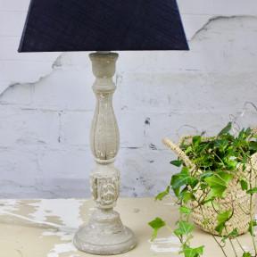 Pied de Lampe Patiné Vert de Gris et son Abat-jour Noir