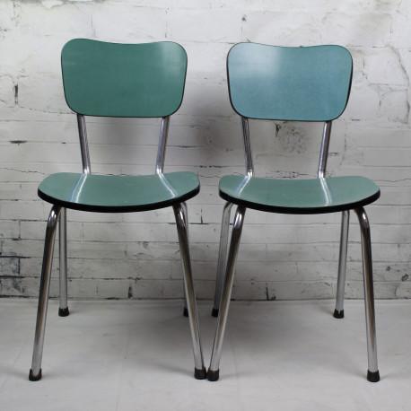 chaise de cuisine en formica bleu pied compas vintage. Black Bedroom Furniture Sets. Home Design Ideas