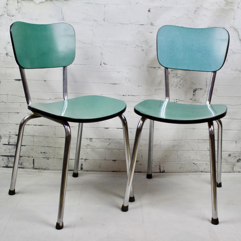 Chaise de cuisine en formica bleu pied compas vintage - Table cuisine formica annee 50 ...