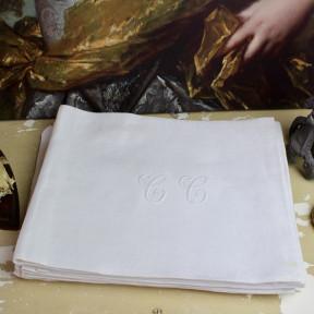 Lot de 6 Serviettes Anciennes Monogramme Blanches