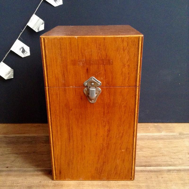 Ancienne boite archives en bois industriel atelier loft for Boite archive