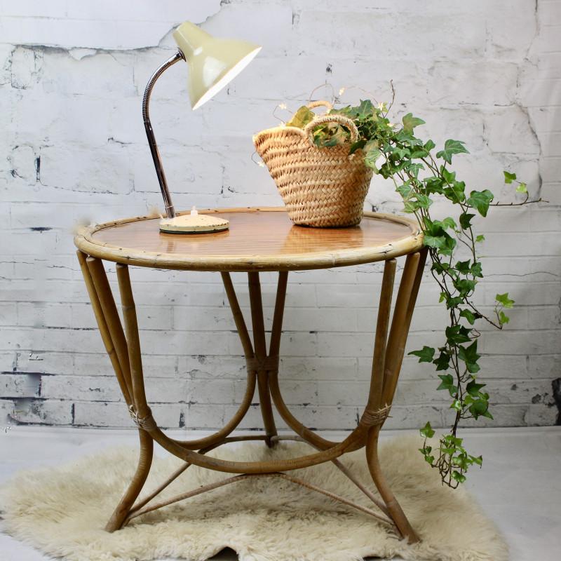 table basse ronde tripode 1950 1960 en rotin osier bois. Black Bedroom Furniture Sets. Home Design Ideas