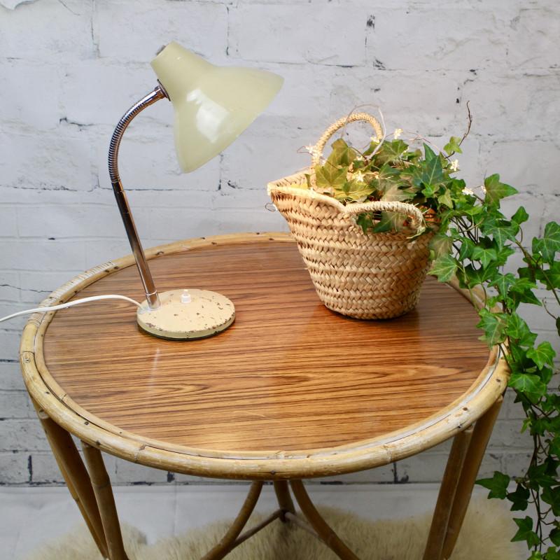 table basse ronde tripode 1950 1960 en rotin osier bois ancien vintage. Black Bedroom Furniture Sets. Home Design Ideas