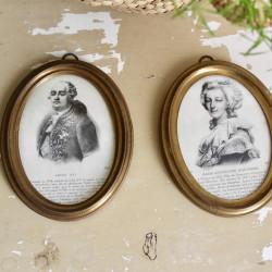 Paire de Gravures Anciennes de Marie-Antoinette et Louis XVI