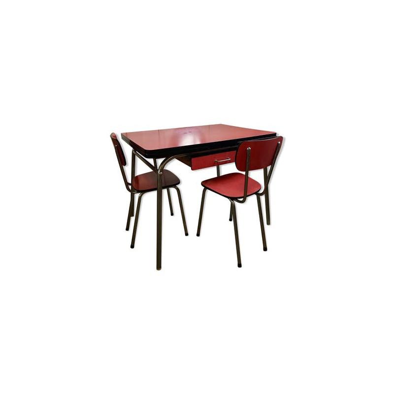 table et chaises de cuisine en formica rouge vintage ann es 60 50. Black Bedroom Furniture Sets. Home Design Ideas
