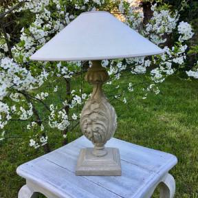 Lampe en Bois Patinée Vert de Gris Amande Shabby