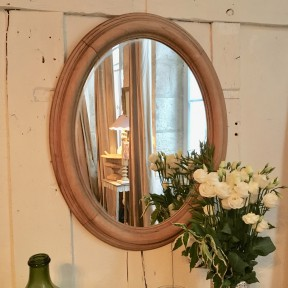 Miroir Ovale en Bois Clair Naturel