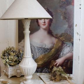 Paire de Grandes Lampes Patine Blanc Crème
