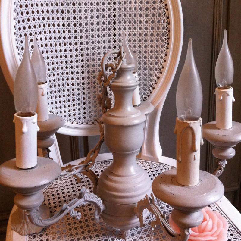 lustre en bois et bronze 5 branches patine l 39 ancienne gr ge. Black Bedroom Furniture Sets. Home Design Ideas