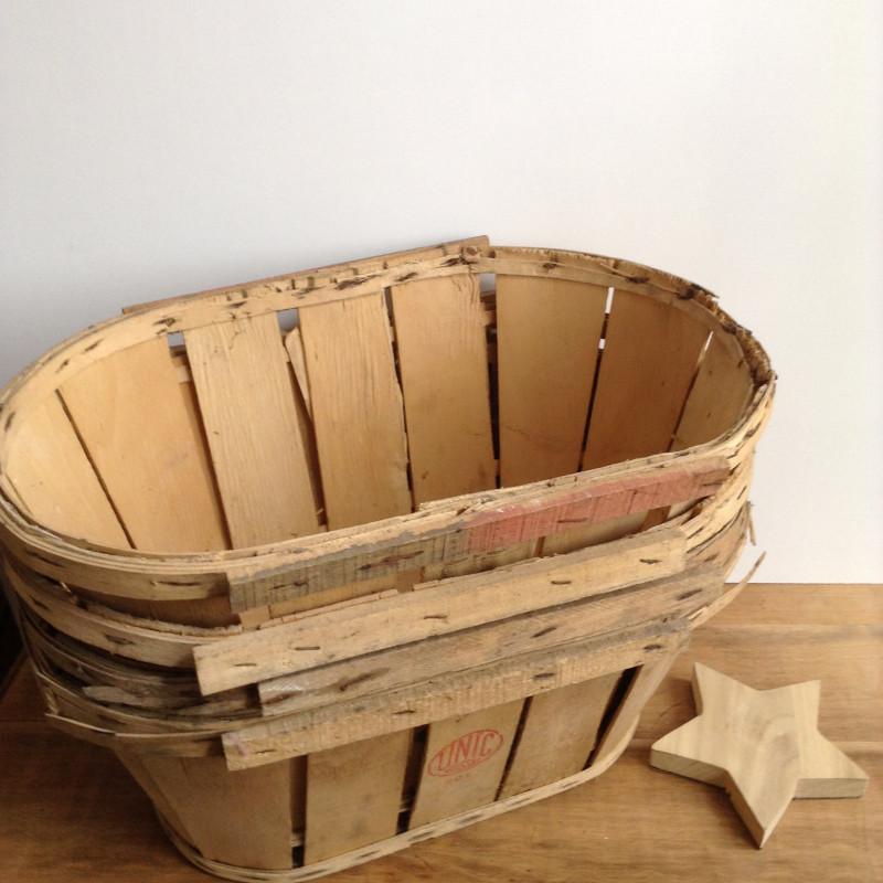 Cageot cagette ancien de maraicher en bois avec etiquette - Que faire avec des cagettes de clementines ...