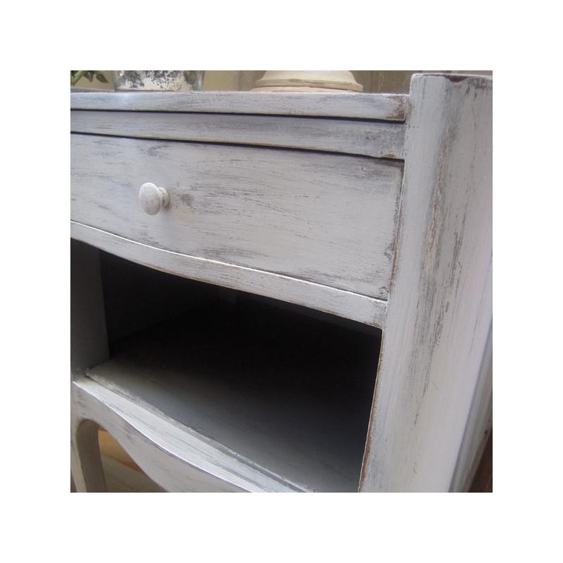 Chevet style louis xvi patine l 39 ancienne gris gustavien for Meuble patine gris gustavien